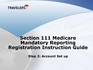 Section 111 Medicare Mandatory Reporting Registration Instruction Guide  Step 2: Account Set up
