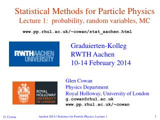 Statistical Methods for Particle Physics Lecture 1:  probability, random variables, MC