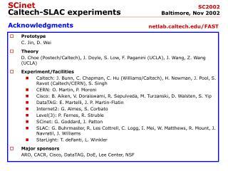 SCinet Caltech-SLAC experiments