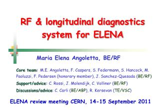 RF & longitudinal diagnostics system for ELENA