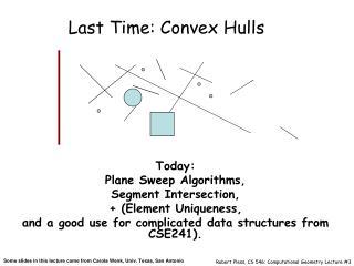 Last Time: Convex Hulls