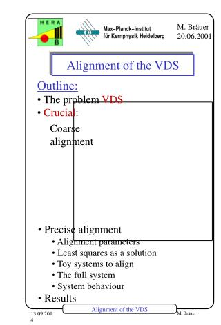 Alignment of the VDS