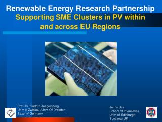 Renewable Energy Research Partnership Supporting SME Clusters in PV within  and across EU Regions