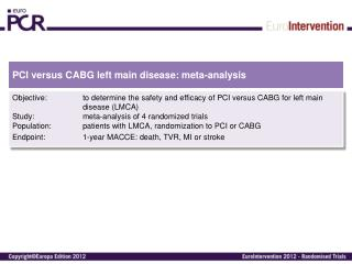 PCI versus CABG  left  main  disease :  meta-analysis