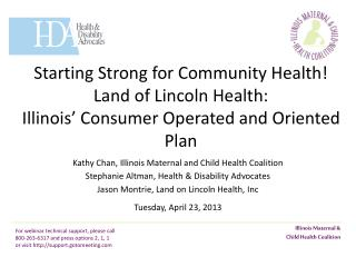 Starting Strong for Community Health! The Affordable Care Act  and Medicaid Expansion