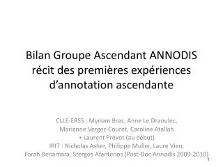 Bilan Groupe Ascendant ANNODIS récit des premières expériences d'annotation ascendante