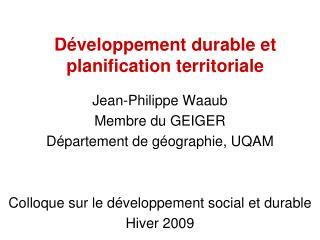 Développement durable et planification territoriale