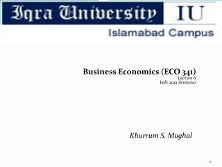 Business Economics (ECO 341) Lecture  6 Fall:  2012 Semester