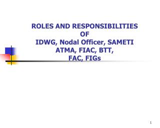 ROLES AND RESPONSIBILITIES  OF IDWG, Nodal Officer, SAMETI ATMA, FIAC, BTT, FAC, FIGs