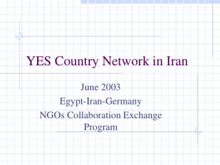 YES Country Network in Iran