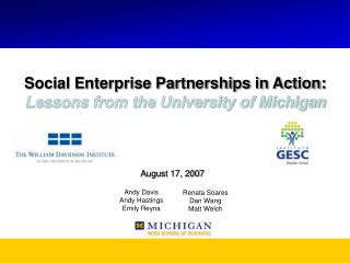 Social Enterprise Partnerships in Action: Lessons from the University of Michigan