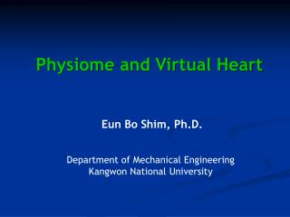 Physiome and Virtual Heart