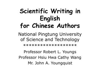 Scientific Writing in English for Chinese Authors