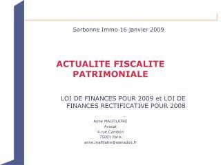 ACTUALITE FISCALITE PATRIMONIALE