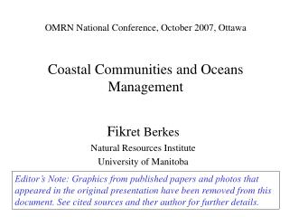 OMRN National Conference, October 2007, Ottawa  Coastal Communities and Oceans Management