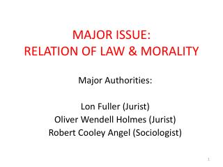 MAJOR ISSUE:   RELATION OF LAW & MORALITY