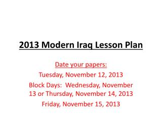 2013 Modern Iraq Lesson Plan