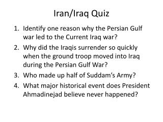 Iran/Iraq Quiz