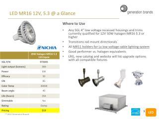 LED MR16 12V, 5.3 @ a Glance