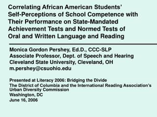 Correlating African American Students   Self-Perceptions of School Competence with Their Performance on State-Mandated A