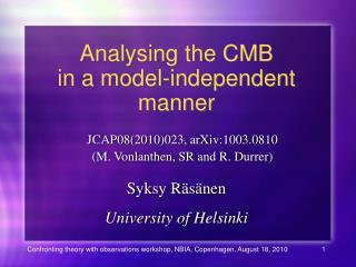 Analysing the CMB in a model-independent manner