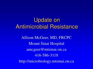 Update on  Antimicrobial Resistance