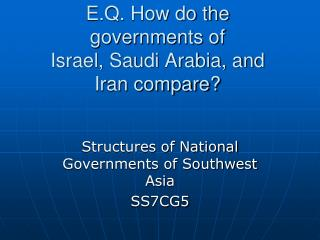 E.Q. How do the governments of  Israel, Saudi Arabia, and Iran compare?