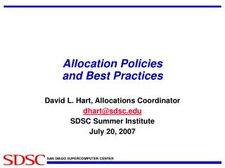Allocation Policies  and Best Practices