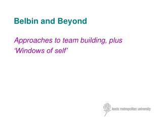 Belbin and Beyond
