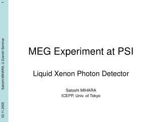 MEG Experiment at PSI