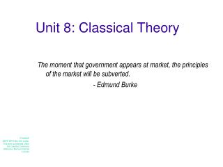 Unit 8: Classical Theory