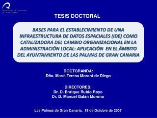 DOCTORANDA: Dña. María Teresa Morant de Diego