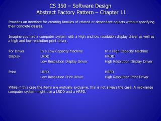 CS 350 – Software Design  Abstract Factory Pattern – Chapter 11
