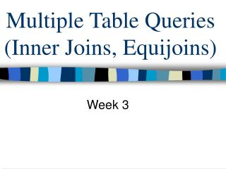 Multiple Table Queries (Inner Joins, Equijoins)