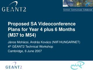 Proposed  S A  Videoconference  Plans for Year 4 plus 6 Months (M37 to M54)