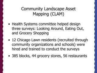 Community Landscape Asset  Mapping (CLAM)