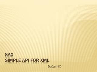 SAX Simple API for XML