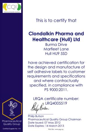 ___________________ Philip Butson Pharmaceutical Quality Group Chairman  Date Issued: 07 May 2012