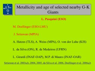 Metallicity and age of selected nearby G-K  Giants