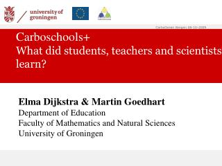 Carboschools+ What did students, teachers and scientists learn?