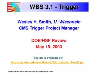 WBS 3.1 - Trigger