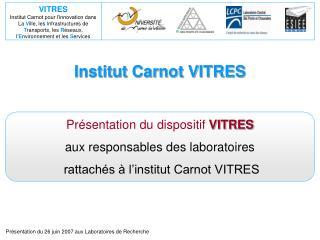 Institut Carnot VITRES