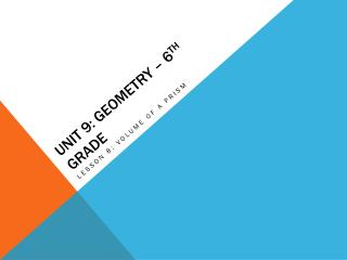 Unit 9: Geometry – 6 th  Grade