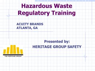 Hazardous Waste Regulatory Training