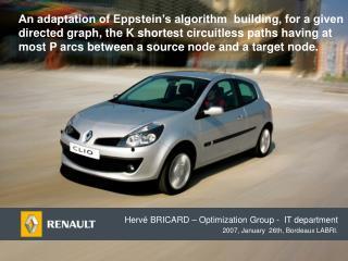 Hervé BRICARD – Optimization Group -  IT department