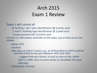 Arch 2315 Exam 1 Review