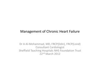 Management of Chronic Heart Failure