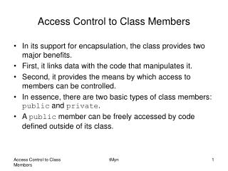 Access Control to Class Members