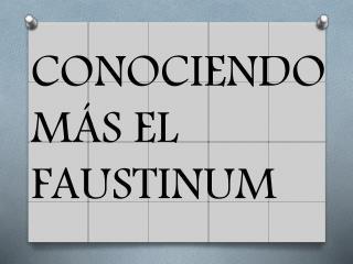 CONOCIENDO MÁS EL FAUSTINUM