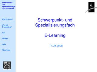 Schwerpunkt- und Spezialisierungsfach E-Learning